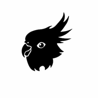 Попугай логотип символ трафарет дизайн татуировки векторные иллюстрации