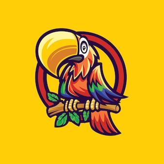 Попугай талисман логотип вектор шаблон