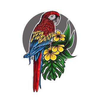 꽃 그림의 앵무새