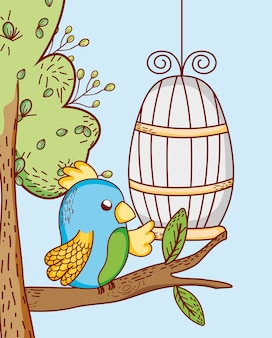 Parrot out of cage doodle cartoon