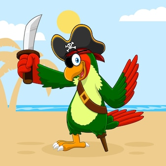 Попугай пиратская птица мультипликационный персонаж с мечом. иллюстрация с фоном пальмы и пляжа
