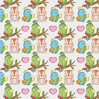 Parrot and squirel background pattern