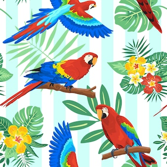 Parrot summer tropical seamless pattern