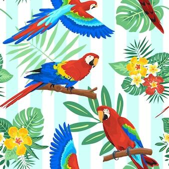 Летний тропический бесшовный узор попугая