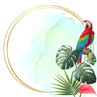 Parrot, tropical leave and golden frame