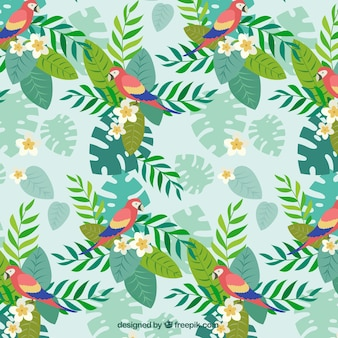 Parrot with palm leaves pattern