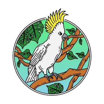 앵무새 컬러 모노 라인