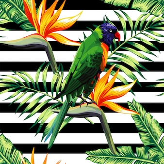 Parrots exotic floral seamless pattern