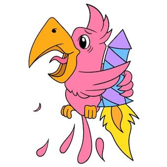 Попугаи летают, держась за запуск ракет, векторная иллюстрация искусства. каракули изображение значка каваи.