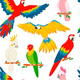 Parrots macaw red-blue isolated  white background seamless pattern.
