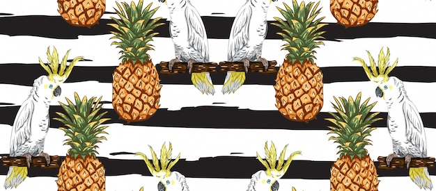 Parrots and pineapple pattern