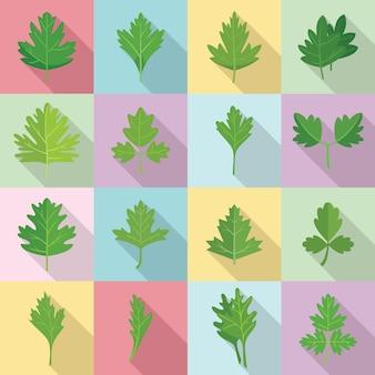 Набор иконок петрушки плоский вектор. букет из листьев