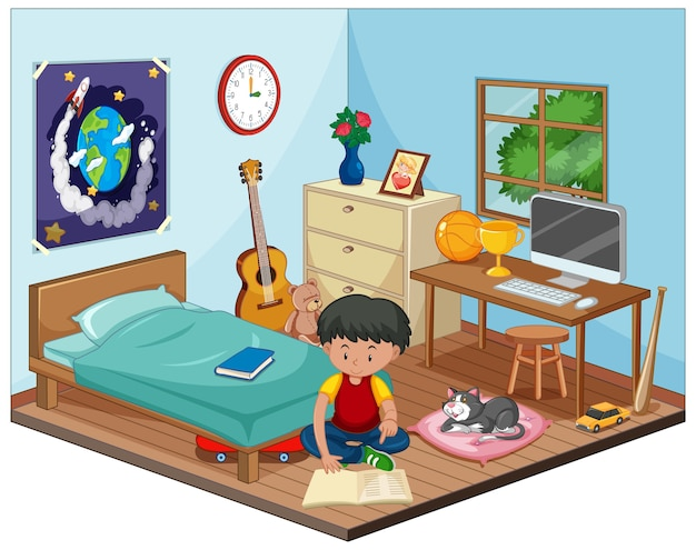 Part of bedroom of children scene with a boy in cartoon style
