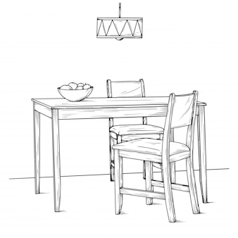 Part of the dining room. table and chairs. hand drawn sketch. vector