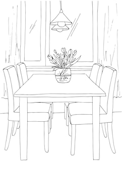 Part of the dining room. table and chairs near the window. on the table a vase of flowers. lamps hang over the table.  hand drawn sketch.vector illustration.