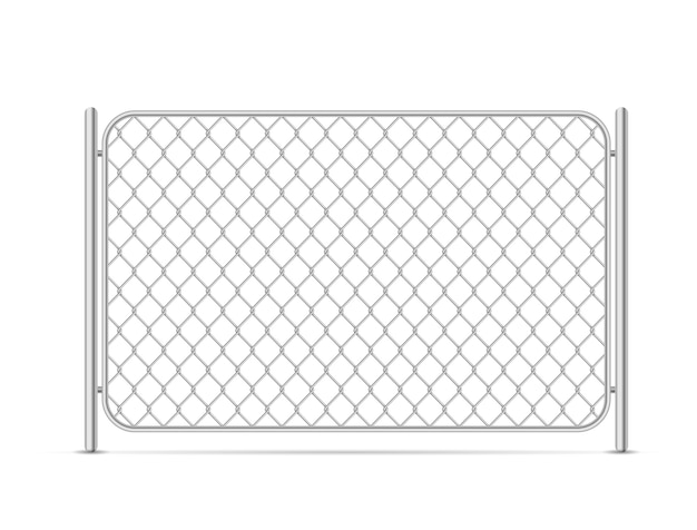 Part of glossy metal chain link fence on white