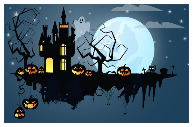 Part of ground with halloween characters illustration