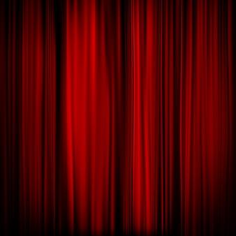 赤いカーテンの一部-暗い。