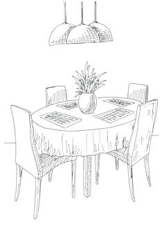 식당의 일부. 라운드 테이블과 의자. 꽃의 테이블 꽃병에. 손으로 그린 된 스케치 벡터 일러스트입니다.