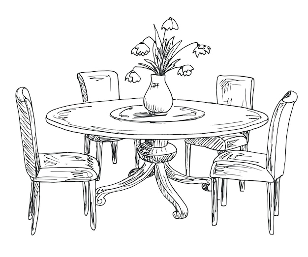 Часть столовой. круглый стол и стулья. на столе ваза с цветами. ручной обращается эскиз. векторная иллюстрация