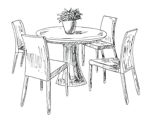ダイニングルームの一部。円卓と椅子。花瓶の上に。手描きスケッチ。ベクトル図。