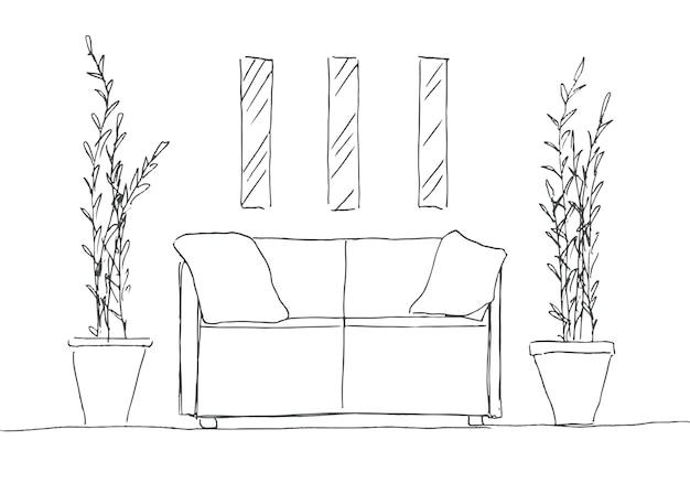 部屋の一部。ソファ、鉢植えの植物、壁の絵。手描きのスケッチ。ベクトルイラスト。