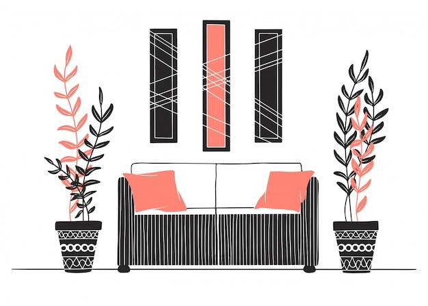 部屋の一部。ソファ、鉢植え、壁の絵。手描きのベクトル図
