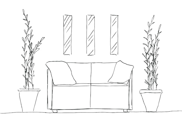 Part of the room. sofa, plants in pots and a picture on the wall. hand drawn sketch. vector illustration.