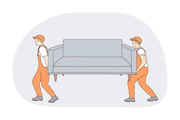 Part-time job, career, manual work concept. young men professional loaders in orange working uniform