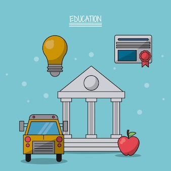 Parthenon and icons of school bus and light bulb and diploma