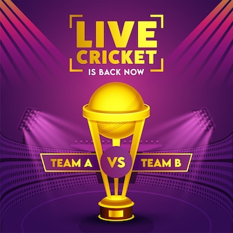 Participants team a & b with golden trophy cup on purple stadium view for live cricket is back now.