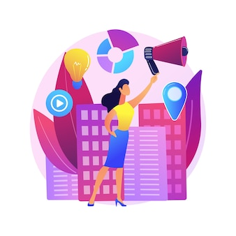 女性の参加抽象的なコンセプトイラスト。男女共同参画の権利、女性の政治参加、女性スピーカーリーダー、民主主義、成功したプレゼンテーション