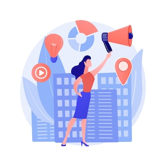 Participation of women abstract concept vector illustration. gender equality rights, women political participation, female speaker leader, democracy, successful presentation abstract metaphor.