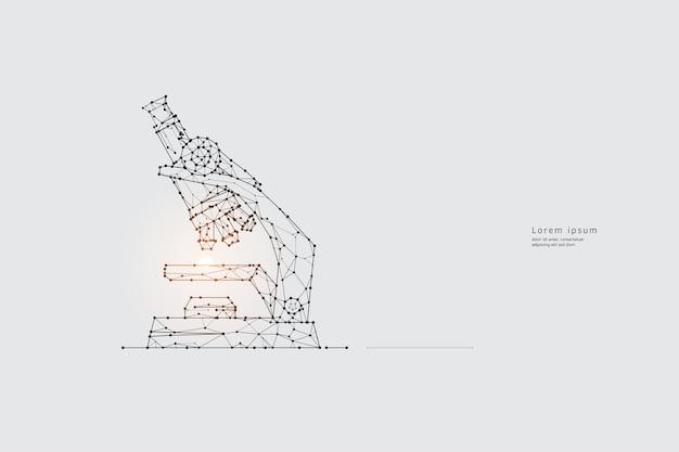 粒子アート、幾何学、線、点、科学と顕微鏡の概念。