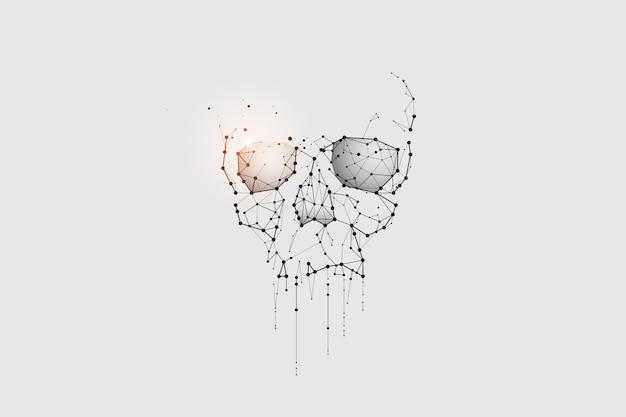 パーティクルアート、ジオメトリ、ライン、ドット。頭蓋骨と死の概念。