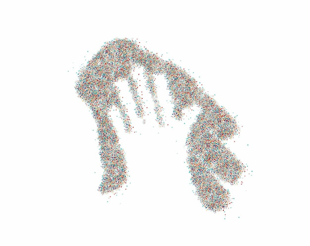 抽象フラットカラフルな線パターンベクトルイラストと粒子商取引シンボル。