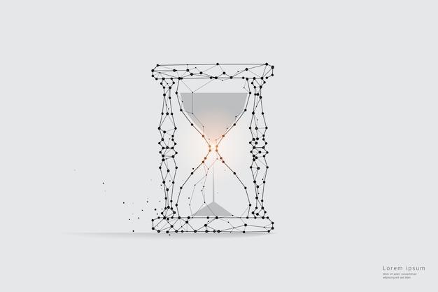 입자 라인 아트. 모래 시계와 시간의 개념.