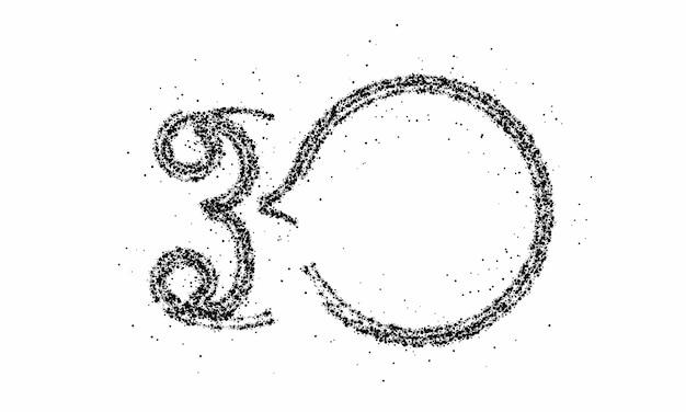 Частицы номер 30 на векторном дизайне текста круга.