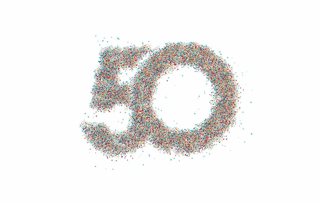 Particle number 50 on the circle text vector vector design.