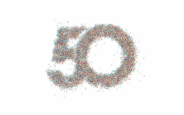 Частицы номер 50 на векторном дизайне текста круга.