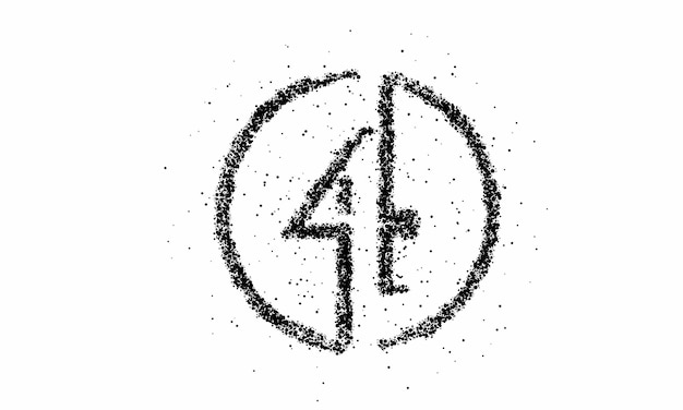 Particle number four on the circle text vector vector design.