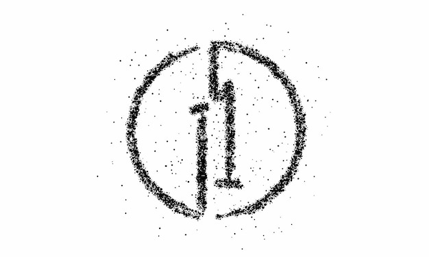 Particle number one on the circle text vector vector design.