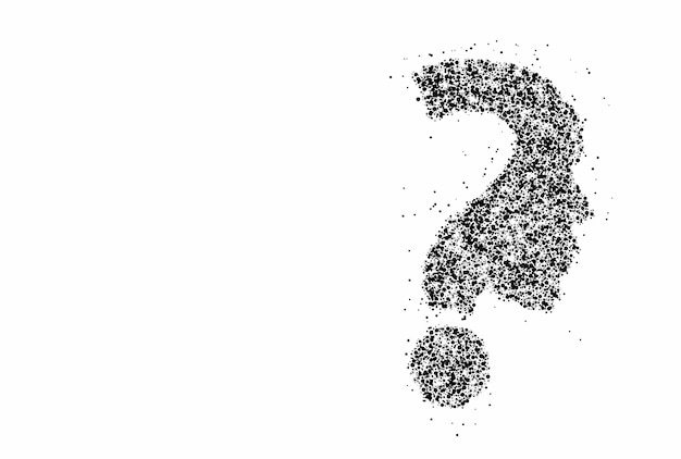 Particle question mark with human face icon vector design element.