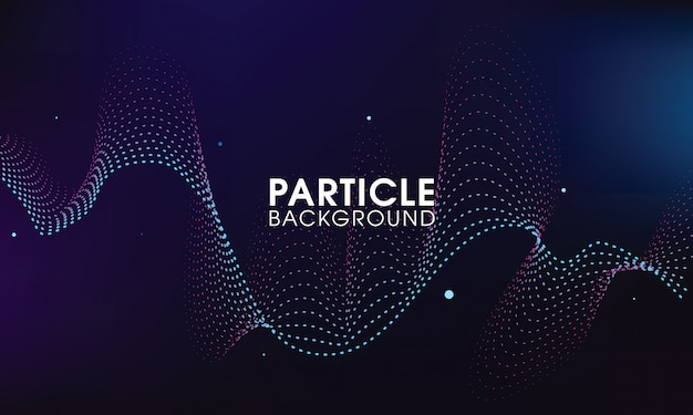 Particle wave with dark abstract background