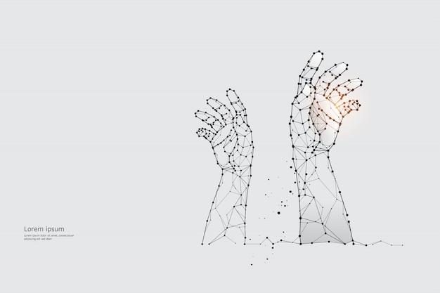 粒子、幾何学的アート、線、手のドット。