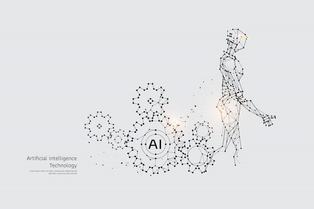 The particles, geometric art, line and dot of gear and robot