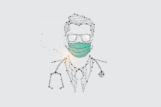 The particles, geometric art, line and dot of human with mask for virus protection