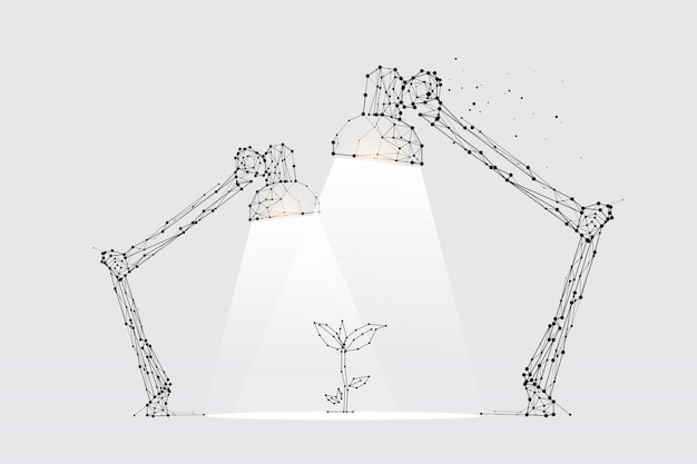 The particles, geometric art, line and dot of lamp lighting.