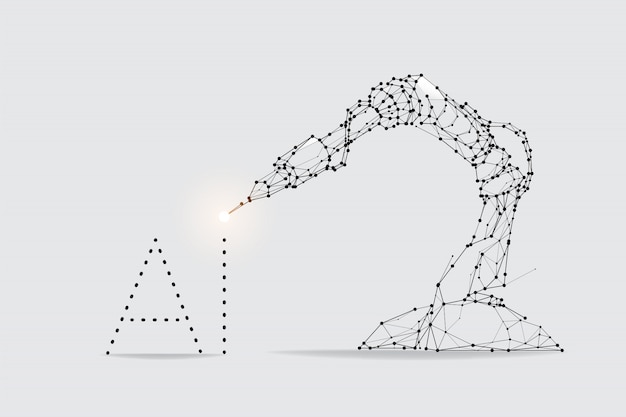 The particles, geometric art, line and dot of robot arm machine