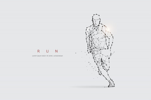 Particles, geometric art, line and dot of running